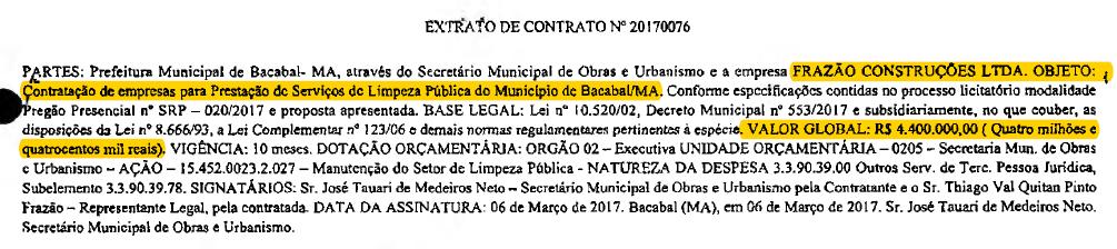 Extrato de Contrato de 2017.
